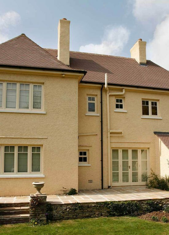 Aluminium windows in cream colour