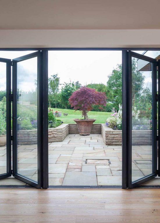 Bifolding doors in aluminium