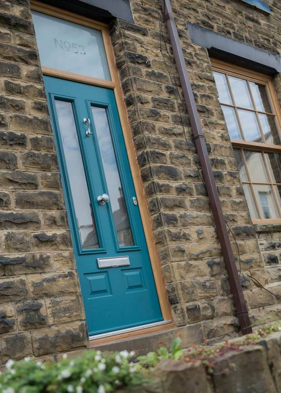 Teal coloured composite door