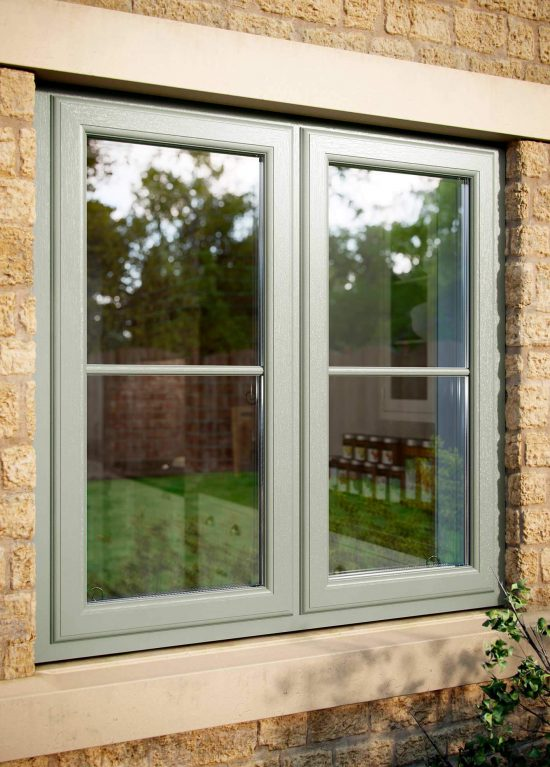 Chartwell green coloured uPVC window