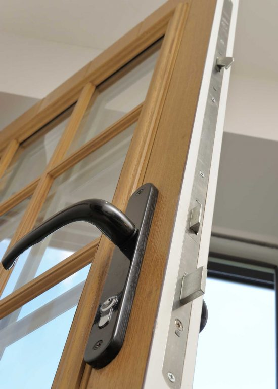A bolt lock and handle on one of our solidor composite doors