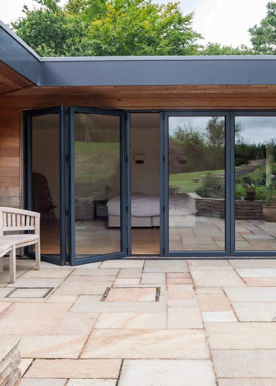 Double glazed large aluminium bifold doors