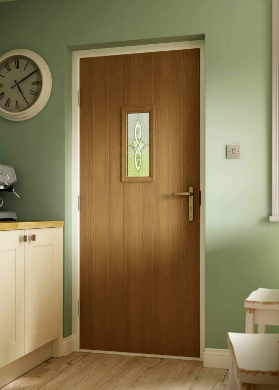 Gold oak coloured front door