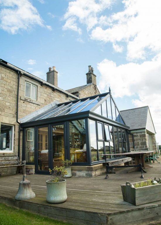Gable fronted uPVC conservatory with glass roof