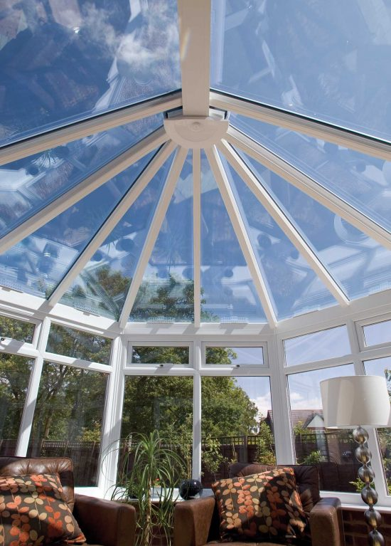 Victorian style conservatory with glass roof