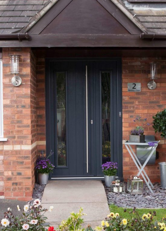Solid timber core entrance door in grey