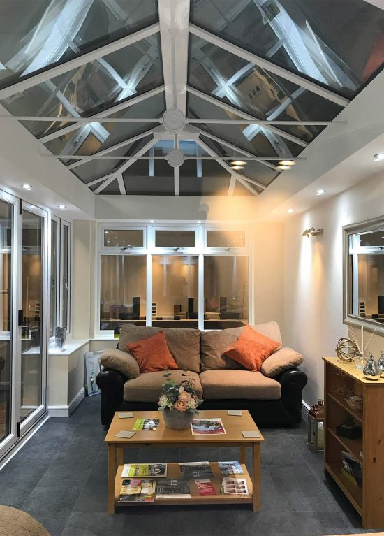 Glazed orangery in our showroom in Worcester