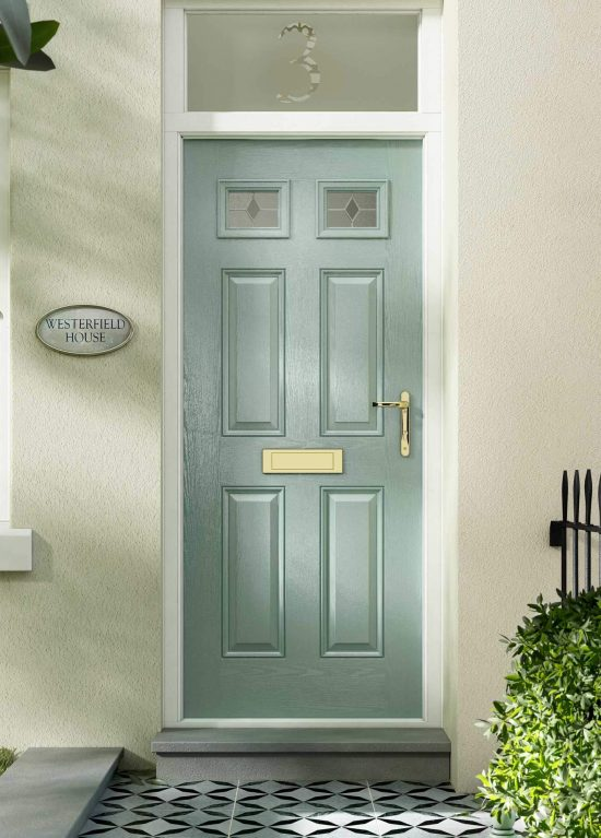 Chartwell green colour entrance door with small glazed panels