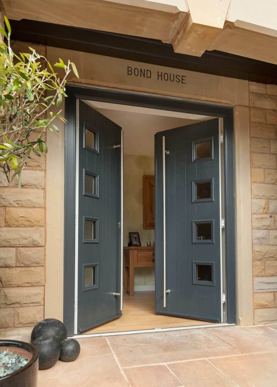 Grey double entrance door