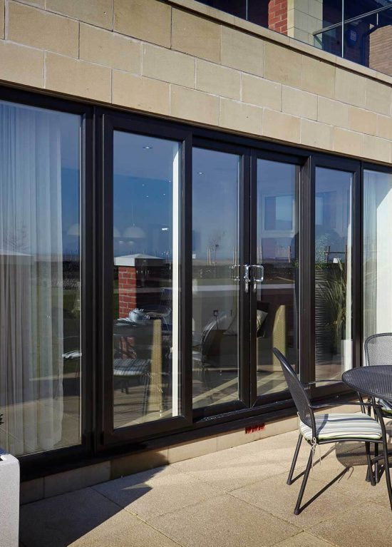 Modern black uPVC patio door