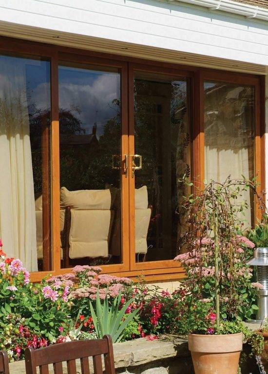 Oak colour uPVC patio door