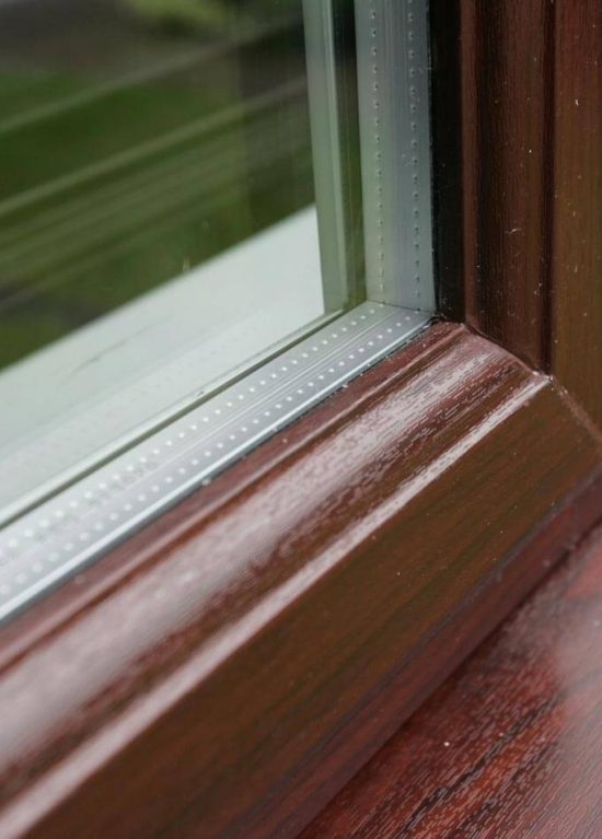 Rosewood colour uPVC window with double glazing