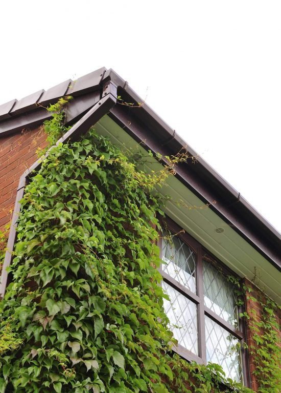 Rosewood colour uPVC guttering installation