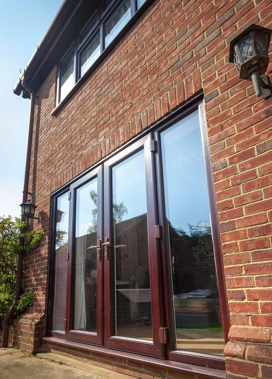 Rosewood colour uPVC french doors