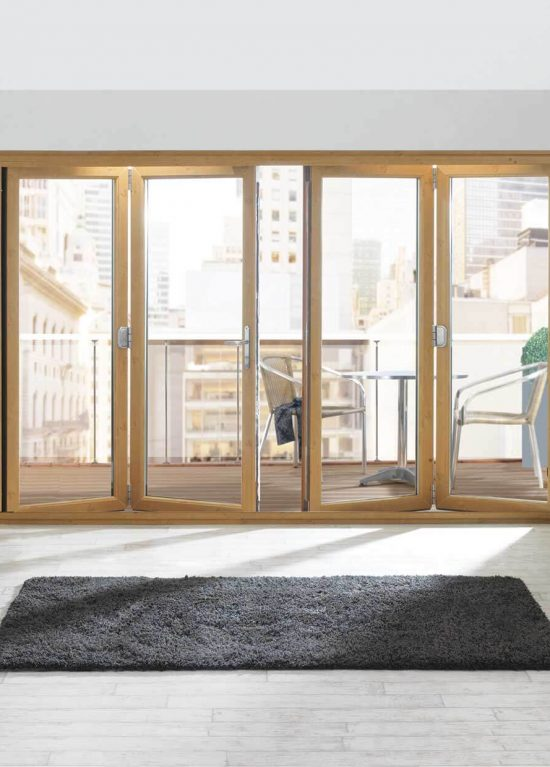 Golden oak colour sliding folding uPVC doors
