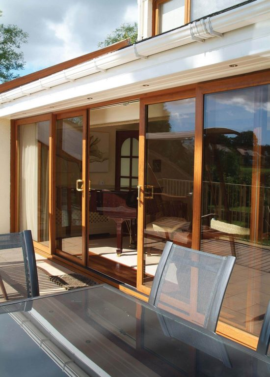 Oak colour sliding patio door