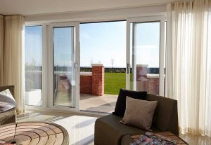 White sliding patio doors installed in modern home