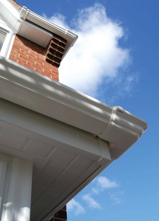 White guttering, fascias and soffits for older house