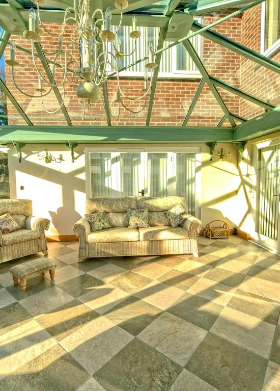 T-shape conservatory interior with lounge room
