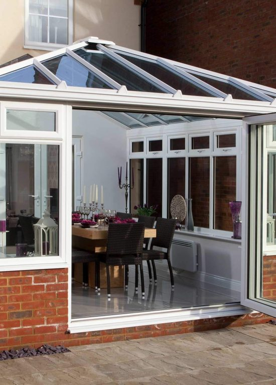 uPVC bifolds installed within a conservatory
