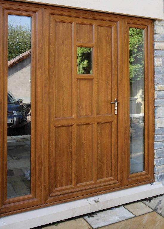 uPVC door installed with 2 sidelights