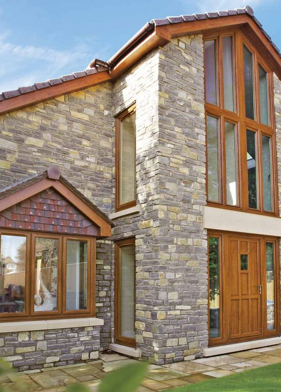 uPVC double glazed windows in golden oak woodgrain finish