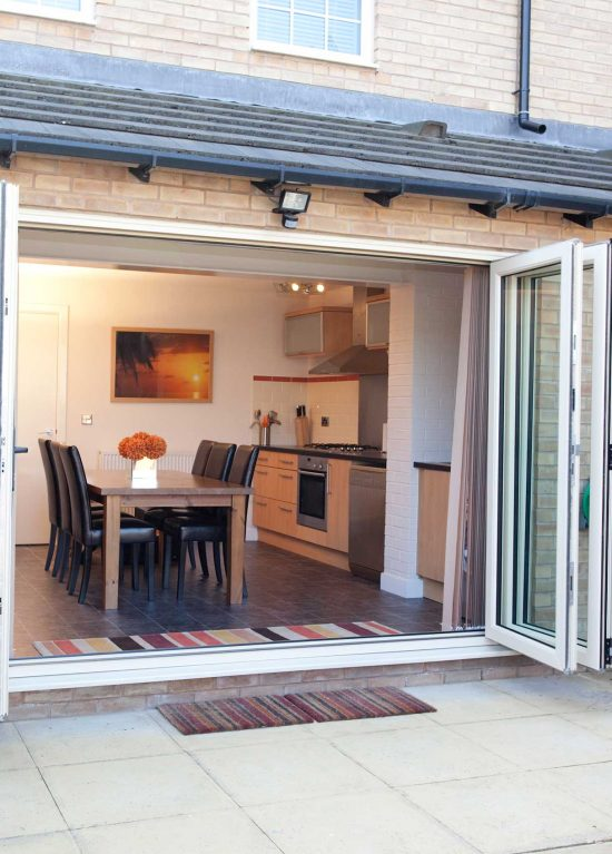 Bifold doors in white uPVC