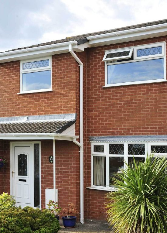 White uPVC soffits, guttering and downpipes